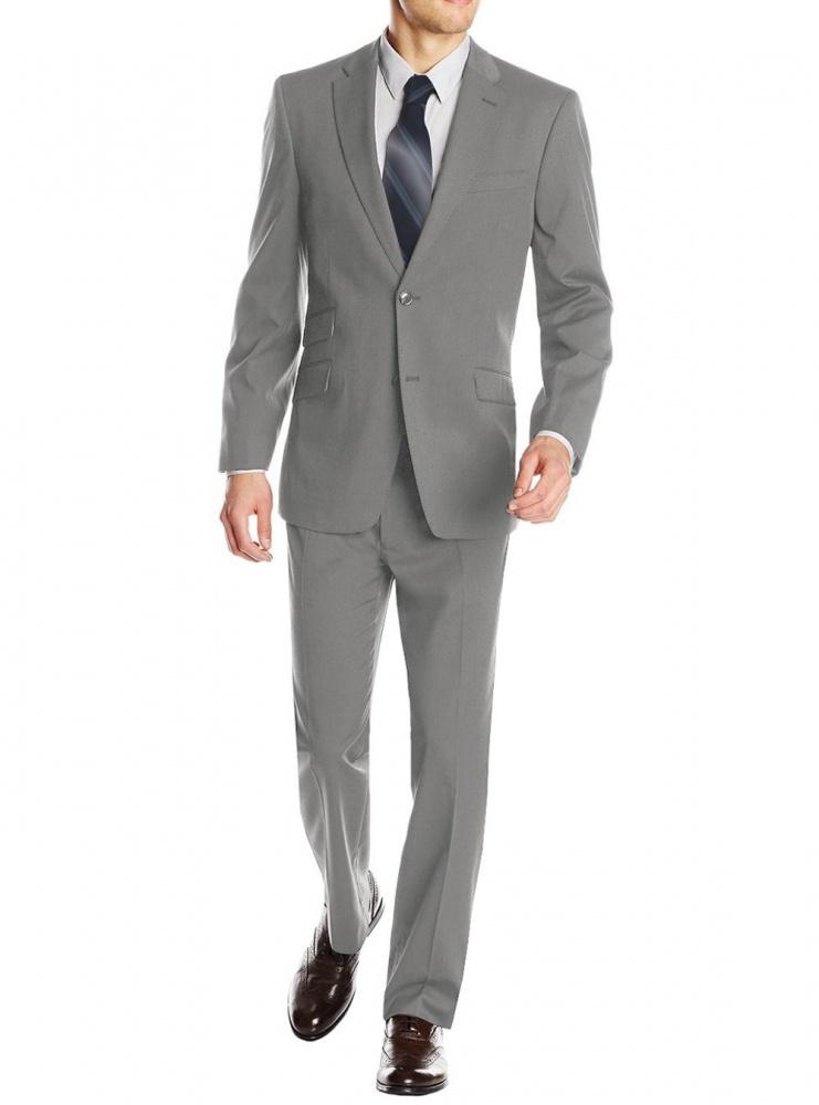 f53ac58b9af5 Мужской классический костюм Gino Valentino (светло-серый, двойной карман  пиджака) фото 1 ...